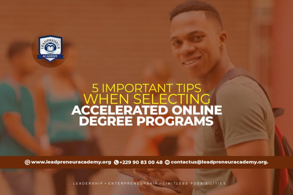 5 Important when selecting Accelerated online degree programs