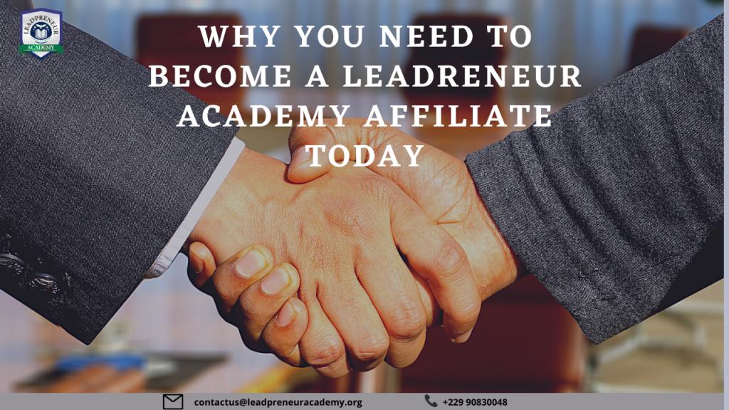 become a LEADPRENEUR ACADEMY affiliate