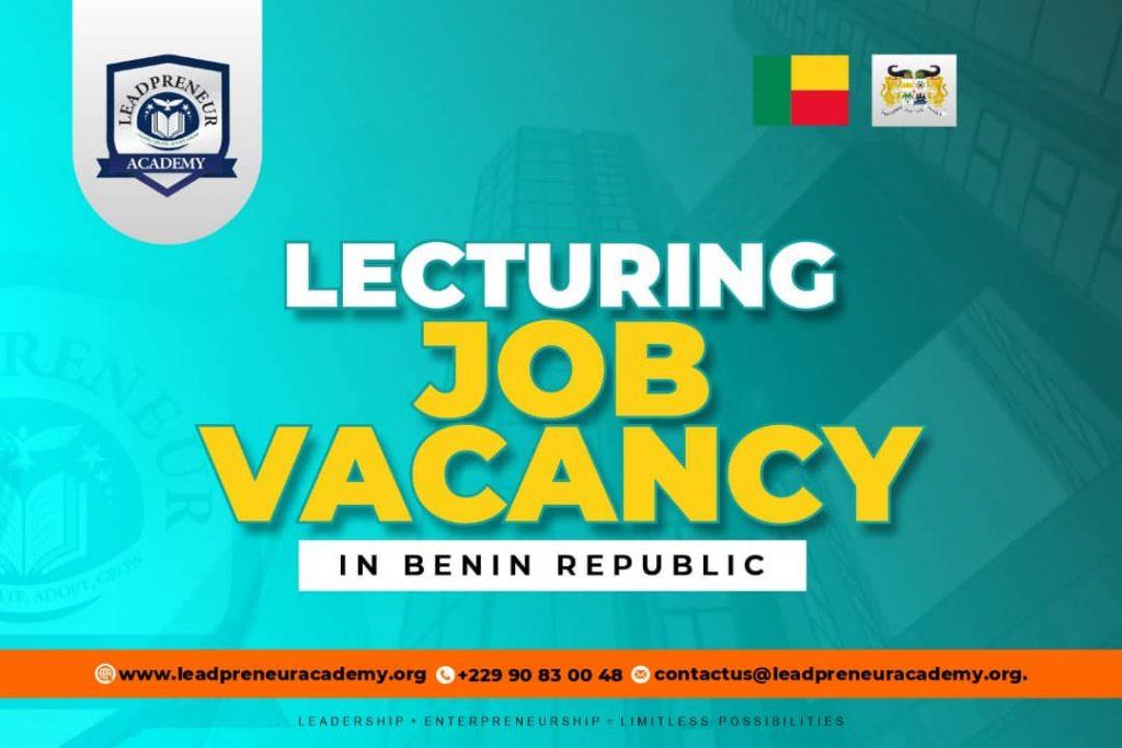 LECTURING JOB VACANCIES IN BENIN REPUBLIC 2021